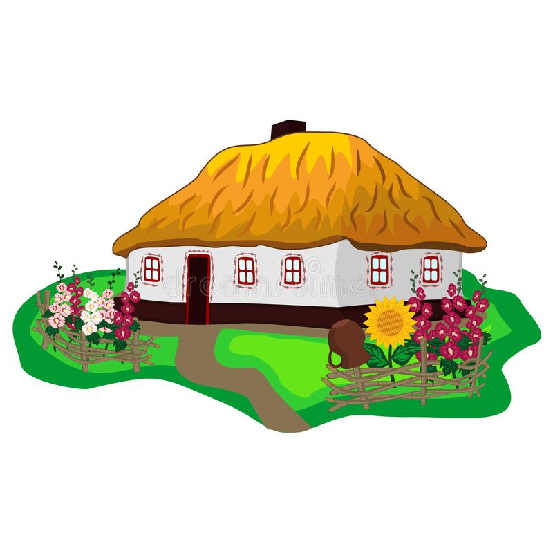 Ukrainian traditional house with white walls, thatched roof, flower garden and wicker fence. Colorful vector clipart of Ukrainian. Folk rural architecture royalty free illustration