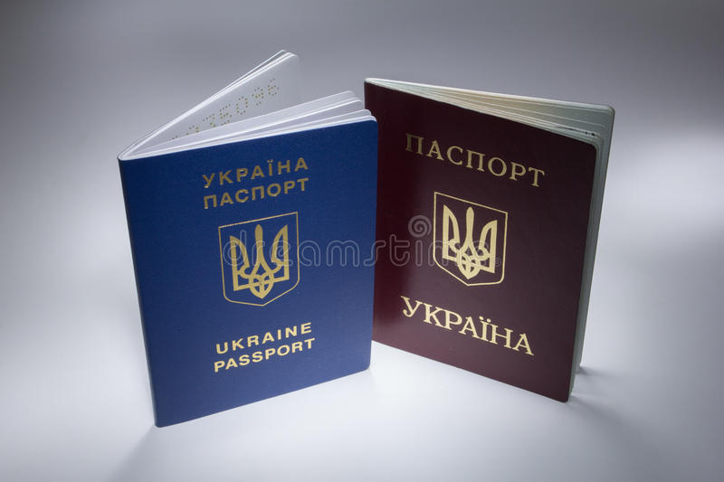 Ukrainian travel passport with cool loght royalty free stock images