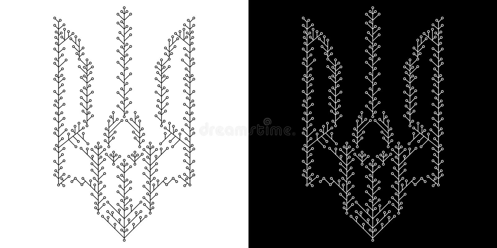 Ukrainian trident from floral ornaments. Ukrainian trident , black and white vector illustration