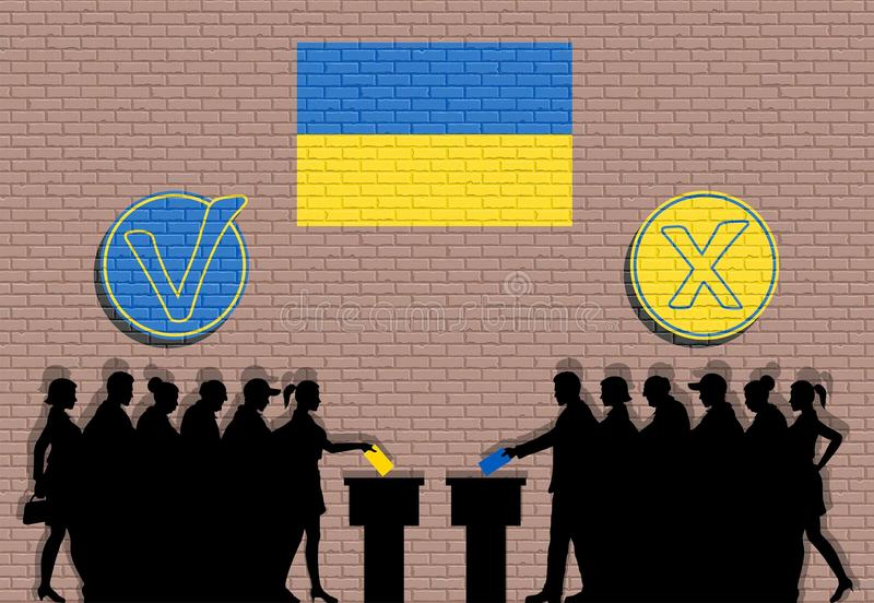 Ukrainian voters crowd silhouette in election with check marks and Ukraine flag graffiti. All the silhouette objects, icons and background are in different royalty free illustration