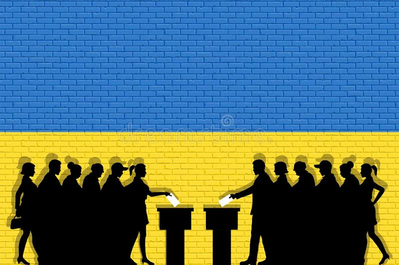 Ukrainian voters crowd silhouette in election with Ukraine flag graffiti in front of brick wall. All the silhouette objects, icons and background are in vector illustration