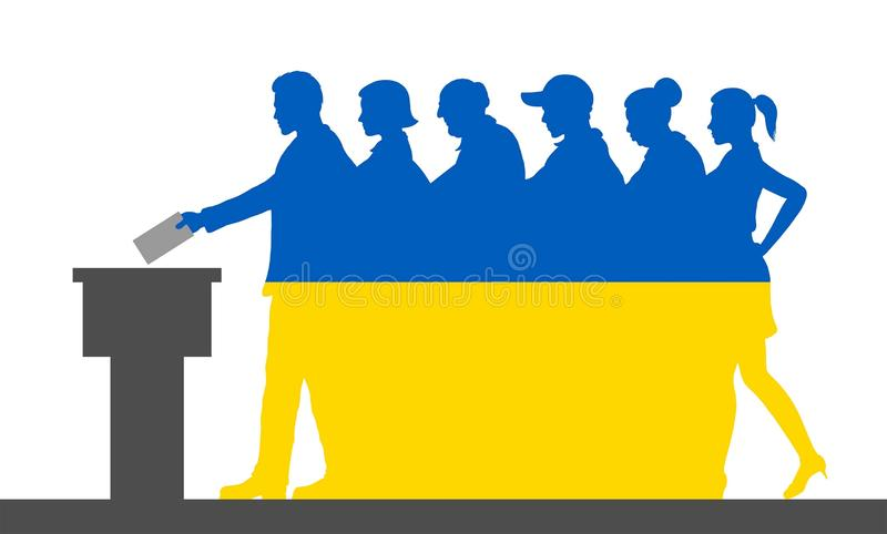 Ukrainian voters crowd silhouette like Ukraine flag by voting for election. All the silhouette objects, and background are in different layers royalty free illustration