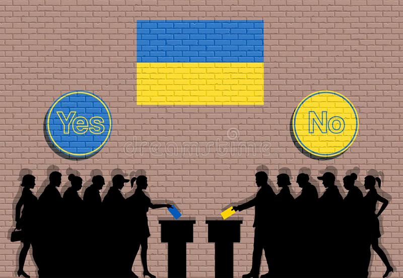 Ukrainian voters crowd silhouette in Ukraine election with yes and no signs graffiti. All the silhouette objects, icons and background are in different layers vector illustration