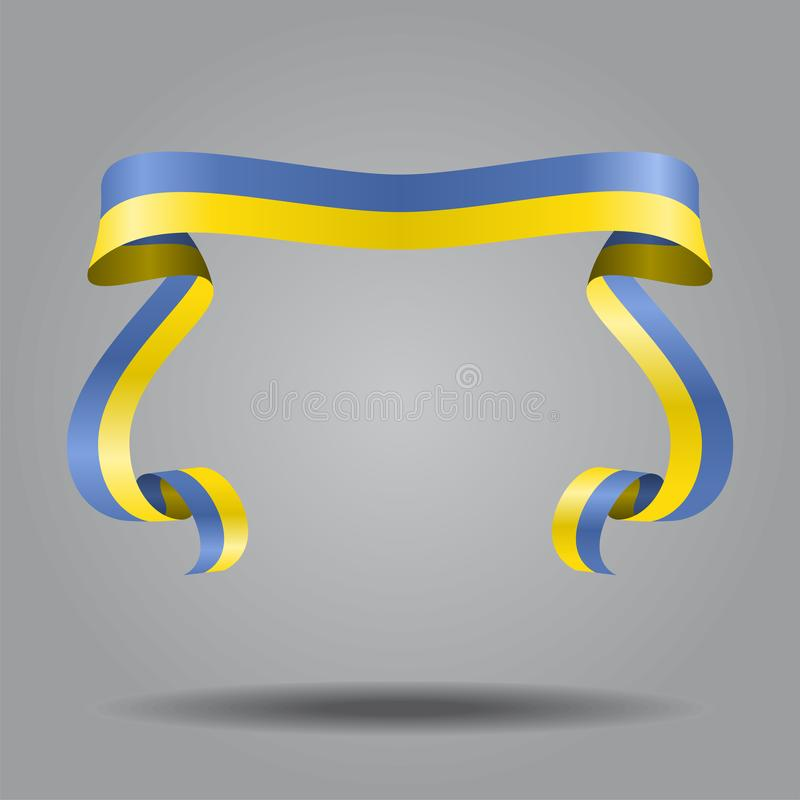 Ukrainian flag wavy ribbon background. Vector illustration. Ukrainian wavy flag abstract background. Vector illustration vector illustration