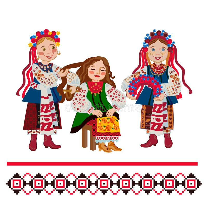 Ukrainian Wedding Ceremony. Dressing a wreath at the bride royalty free illustration