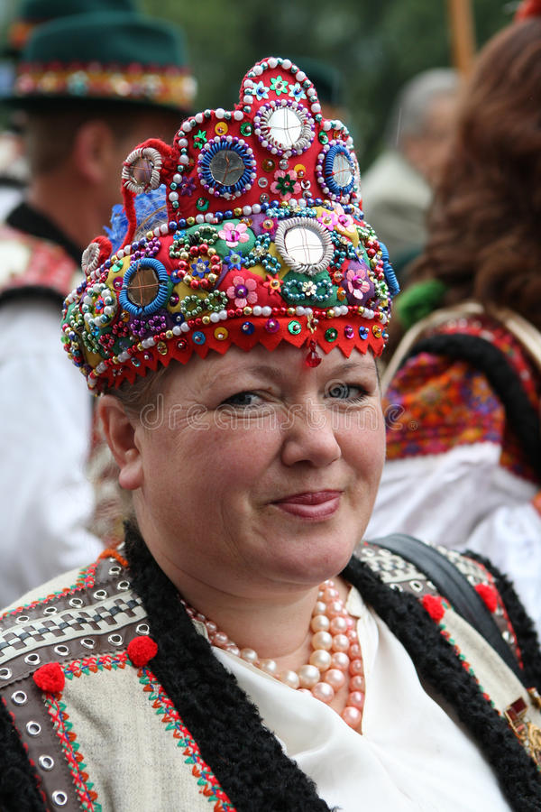 Ukrainian woman in an old picturesque present authentic nationa stock photography