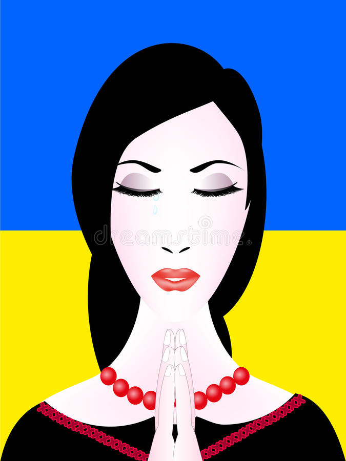 Ukrainian woman prays. Portrait of a young ukrainian woman praying with eyes closed against the background of the national flag of Ukraine stock illustration