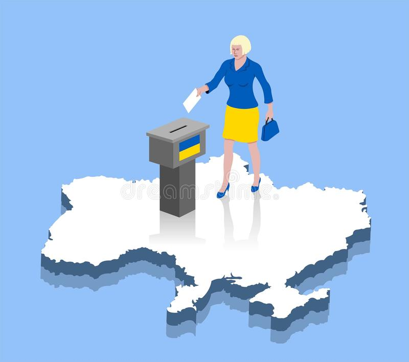 Ukrainian woman are voting in ballot box over a Ukraine map. All the objects, shadows and background are in different layers stock illustration