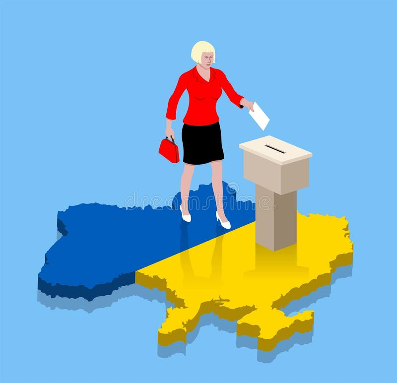 Ukrainian woman are voting over a Ukraine map like Ukrainian flag. All the objects, shadows and background are in different layers vector illustration
