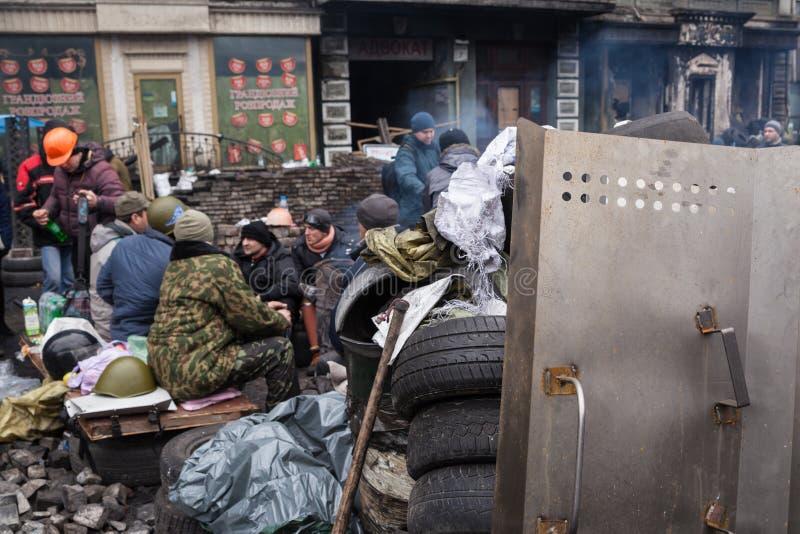 Ukrainians at Euromaidan in Kiev. Ukrainian protests in 2014 stock photos