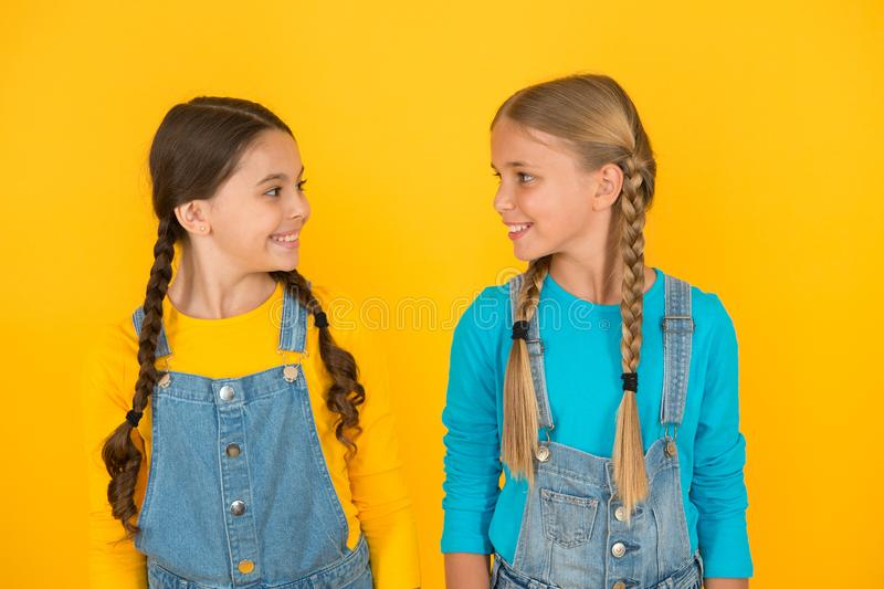 We are ukrainians. Ukrainian kids. Celebrate national holiday. Patriotism concept. Girls with blue and yellow clothes. Patriotic upbringing. Independence day stock image