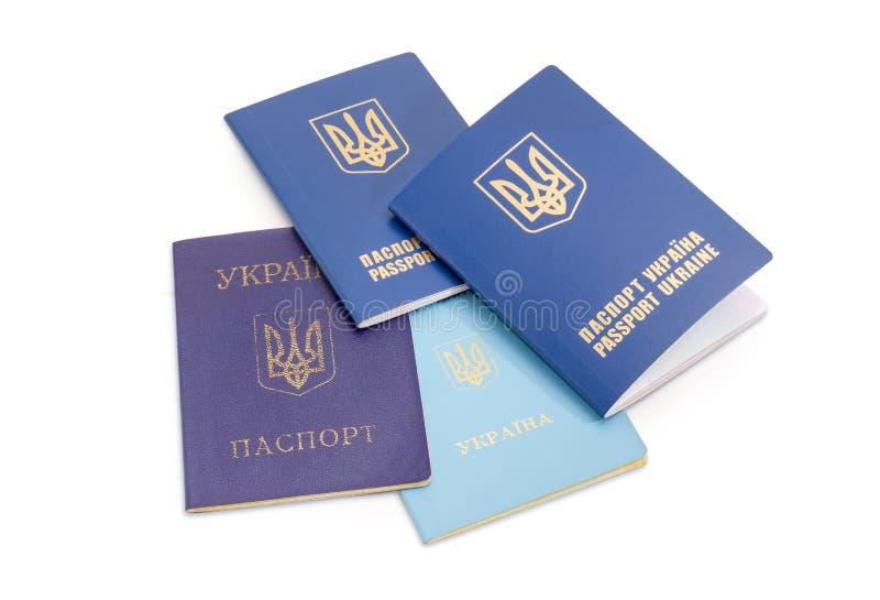 Ukrainische interne und internationale Pässe, Reisedokument stockfotografie