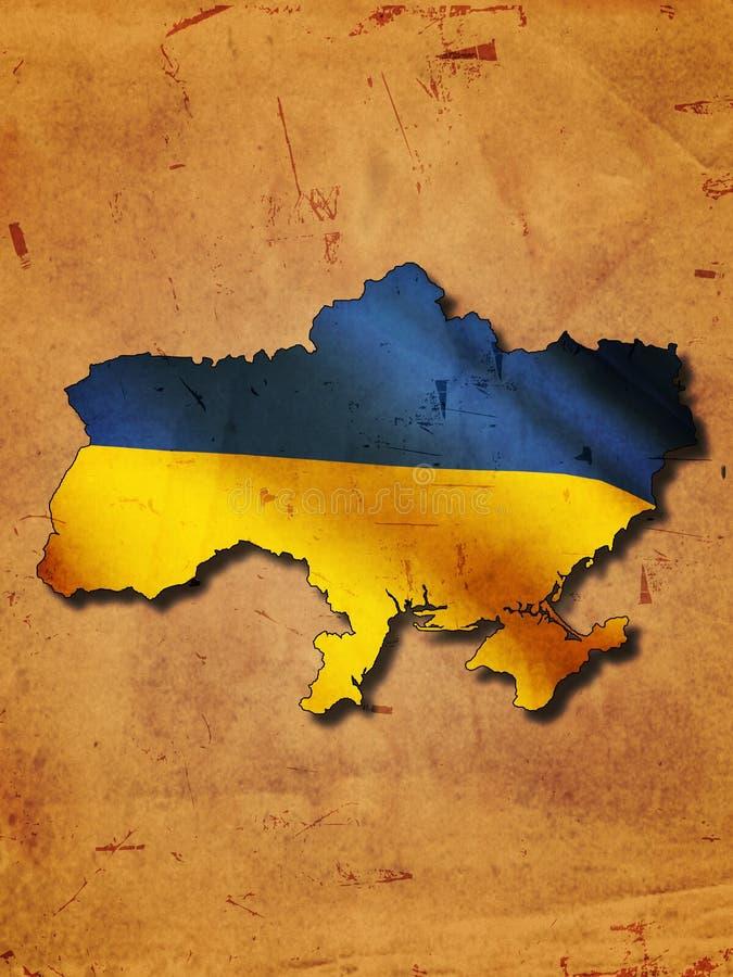 Ukrainische Karte mit Markierungsfahne stock abbildung