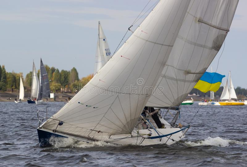UKRAINKA, UKRAINE - OCTOBER 12, 2019: Racing sailing boats during a regatta. South worth near Kiev on October 12, 2019 royalty free stock images