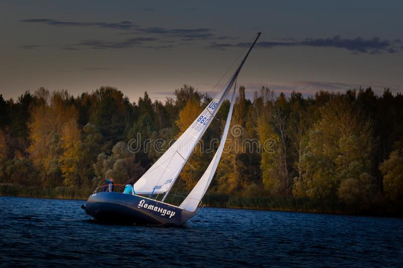 UKRAINKA, UKRAINE - OCTOBER 12, 2019: Racing sailing boats during a regatta. South worth near Kiev on October 12, 2019 royalty free stock photography