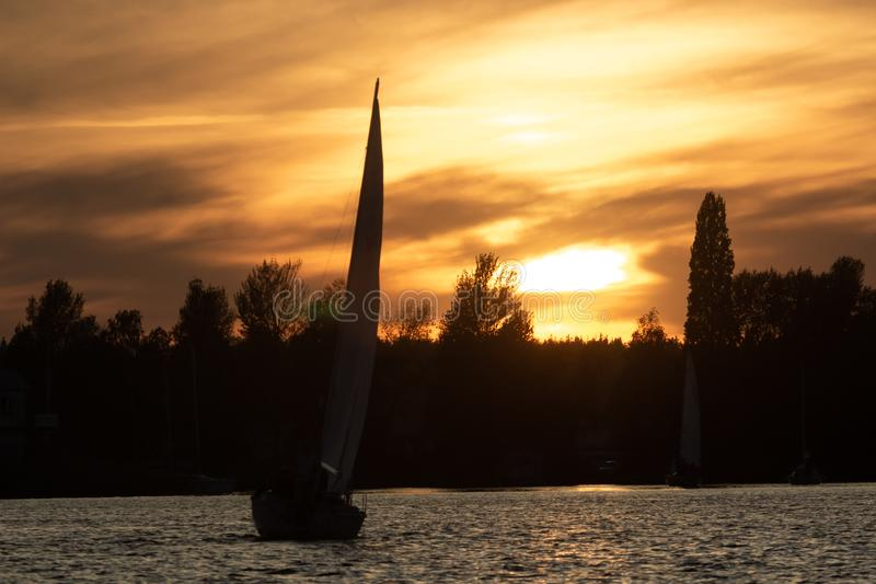 UKRAINKA, UKRAINE - OCTOBER 12, 2019: Racing sailing boats during a regatta. South worth near Kiev on October 12, 2019 stock photography