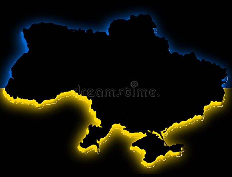 Ukrainsk översikt i flagga vektor illustrationer