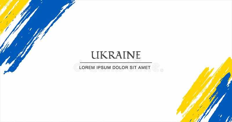Ukrainsk bakgrund för flaggaborstestil med band illustration royaltyfri illustrationer