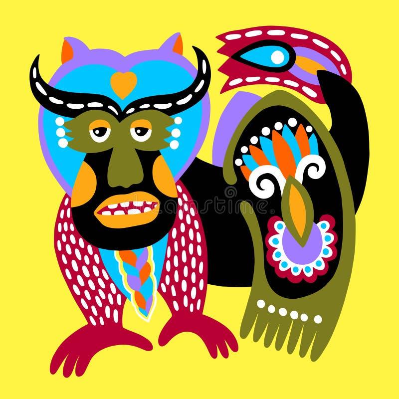 Ukrainsk etnisk traditionell målning av fantasidjuret royaltyfri illustrationer