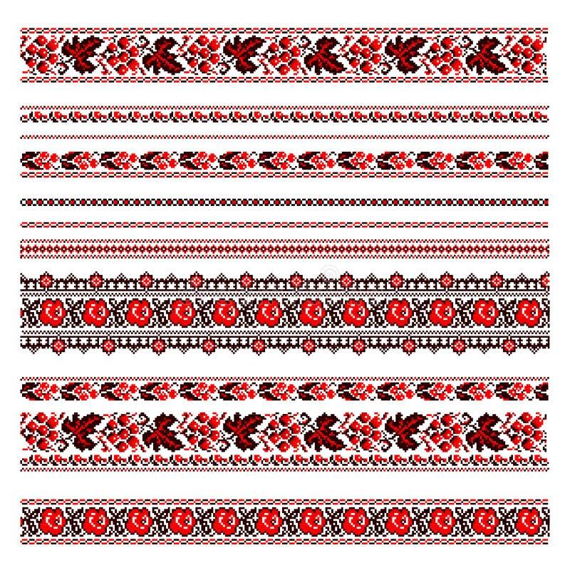 Ukrainsk folk broderi Röda och svarta modeller på vit stock illustrationer