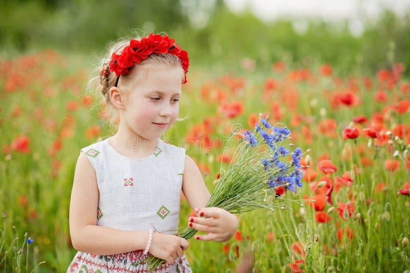 Ukrainsk härlig flicka i vyshivanka med kransen av blommor i ett fält av vallmo och vete utomhus- st?ende i vallmo flicka arkivbild