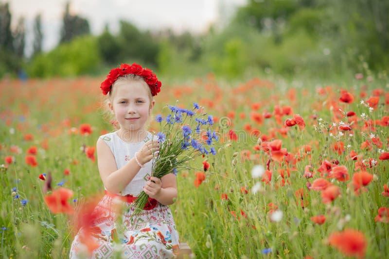 Ukrainsk härlig flicka i vyshivanka med kransen av blommor i ett fält av vallmo och vete utomhus- st?ende i vallmo flicka fotografering för bildbyråer