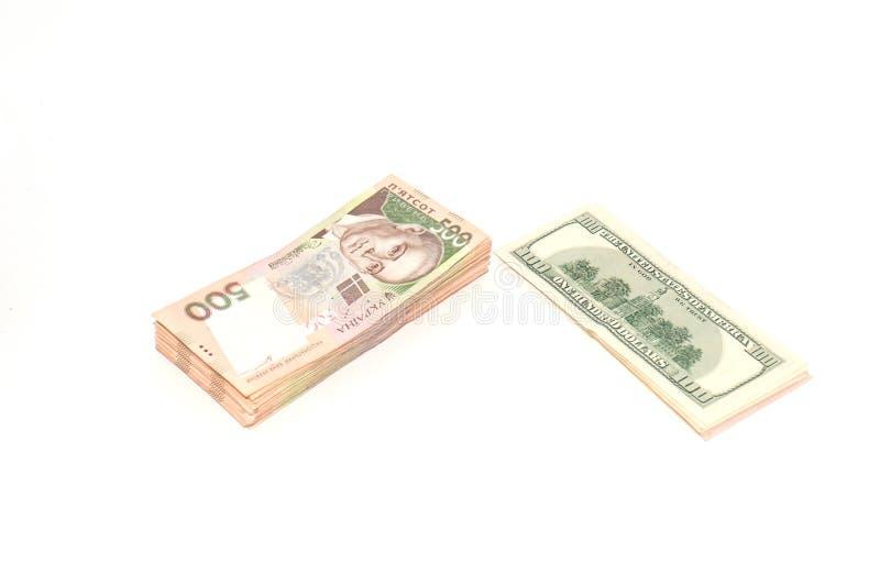 Ukrainsk hryvnia och dollaren p arkivbild