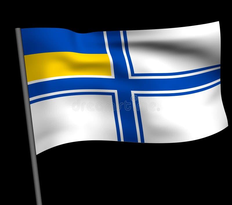 Ukrainsk marinflagga royaltyfri illustrationer