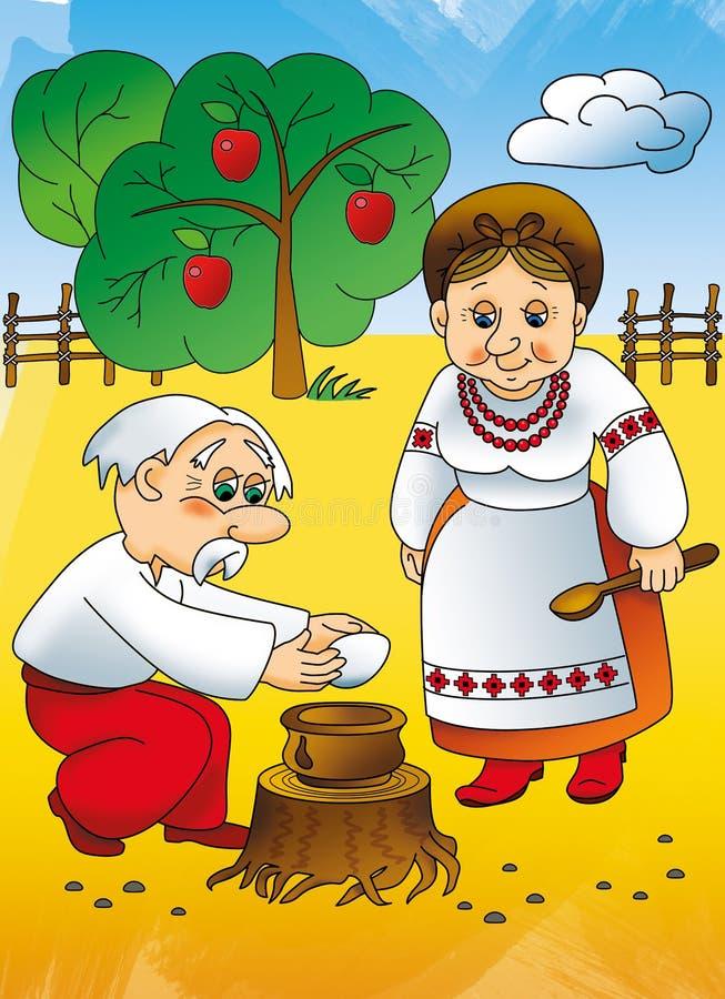 Ukrainsk saga, morföräldrar royaltyfria foton