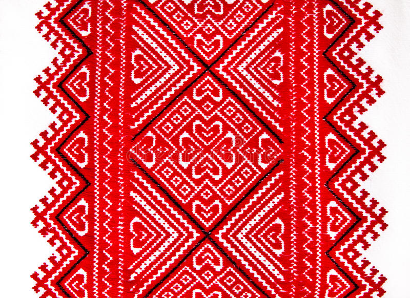 Ukrainsk traditionell nationell röd och svart prydnadbroderi royaltyfri bild