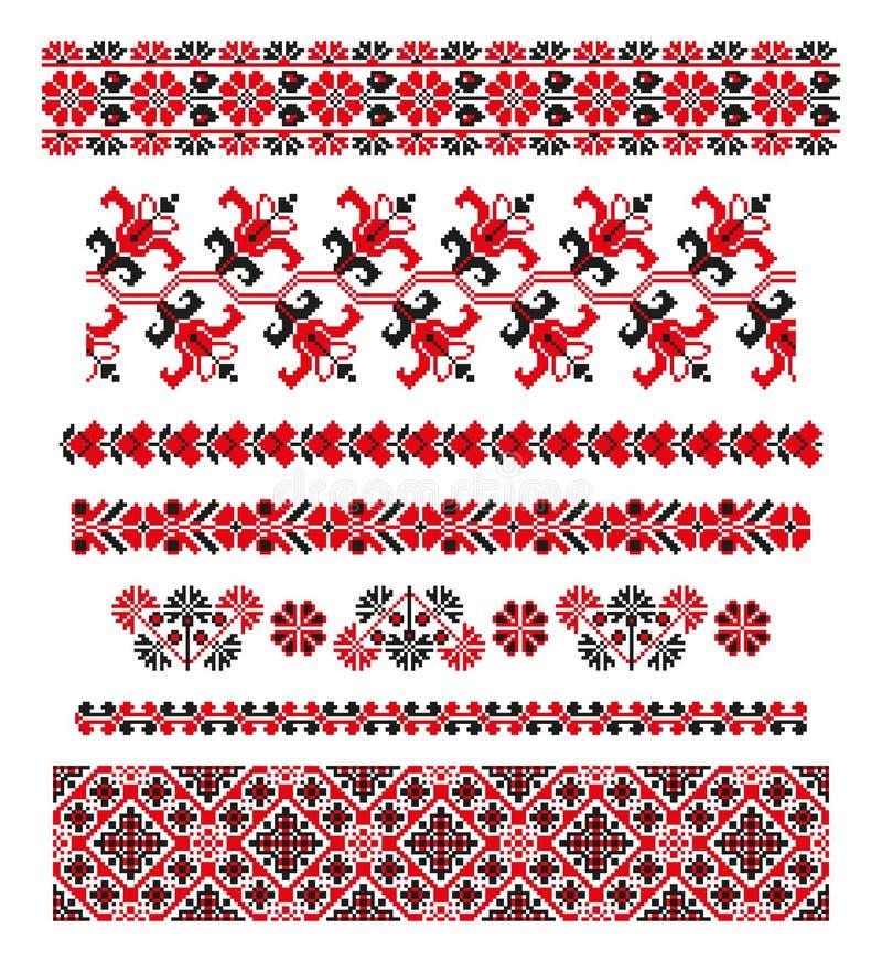 Ukrainsk tvåfärgad etnisk prydnad vektor illustrationer