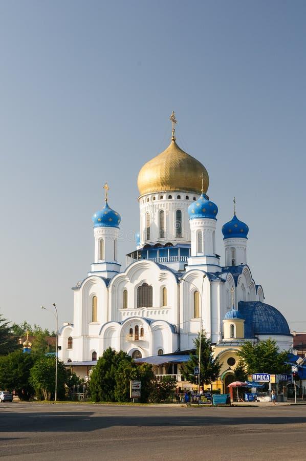 Ukrainska Uzhhorod: Uzhorod ortodox domkyrka av det heliga korset i Ukraina royaltyfri foto