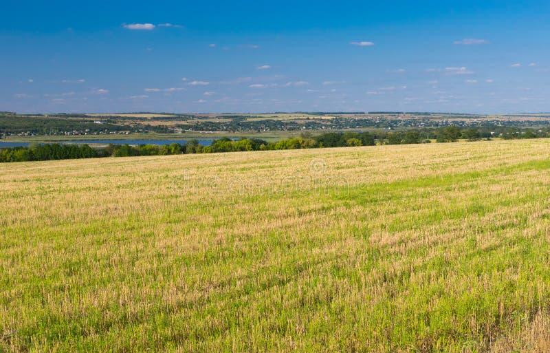 Ukrainskt jordbruks- landskap med den mejade skörden arkivfoto