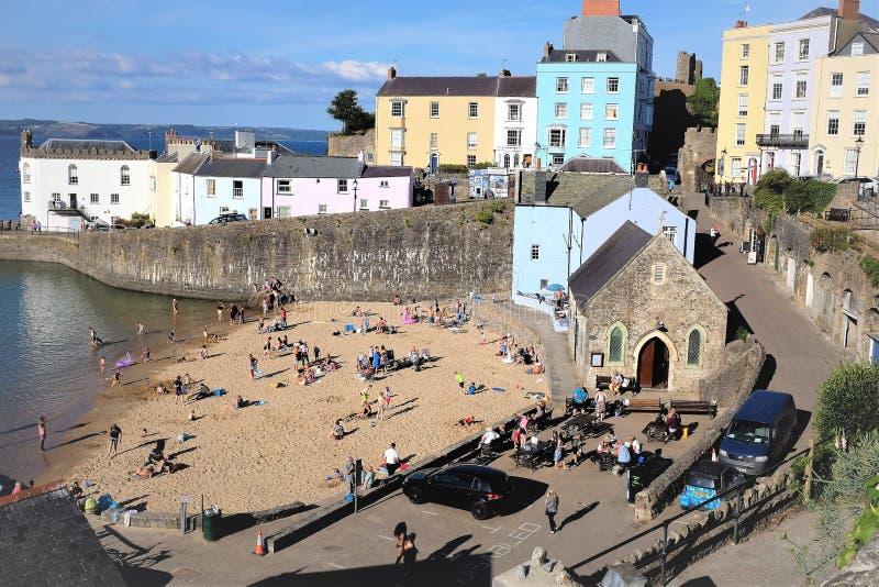 Ukrywa plażę, Tenby, Pembrokeshire, Walia zdjęcia royalty free