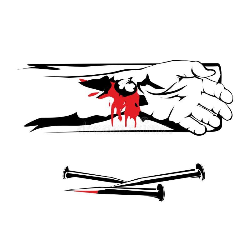Ukrzyżowana ręka władyki jezus chrystus przepływ krew, mosiędzy gwoździe ilustracja wektor