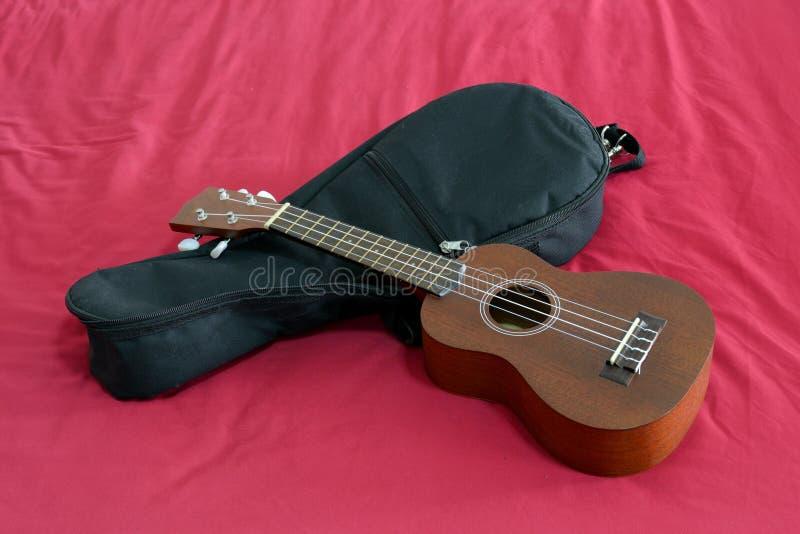 Ukulele with bag. Ukulele with black gig back on red background stock image