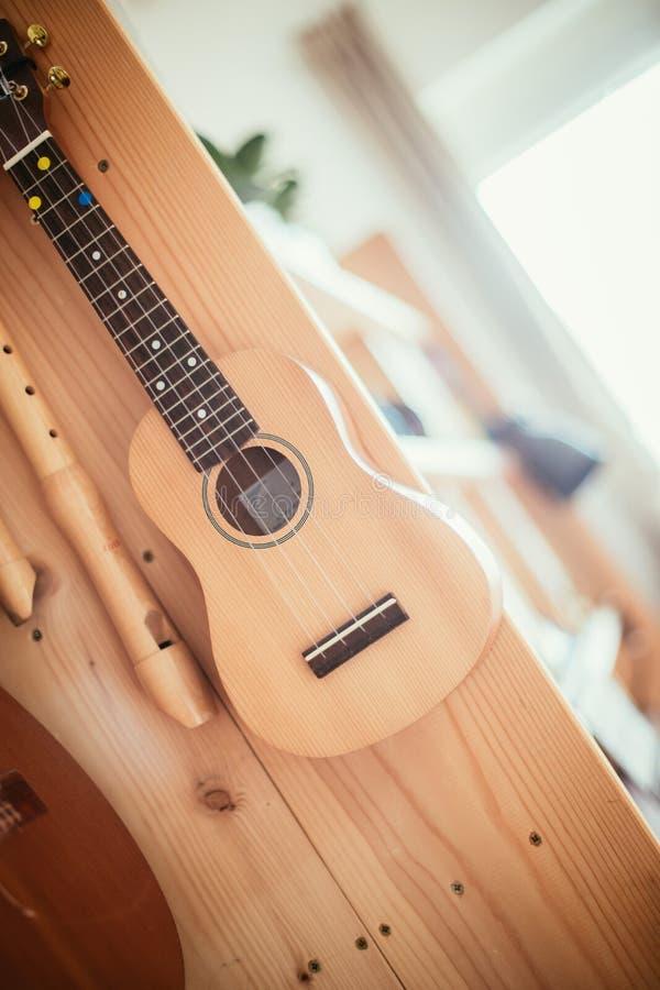 Ukulele: Chiuda su delle ukulele e delle flauto, pronto a giocare, appendenti su uno scaffale per libri di legno immagini stock