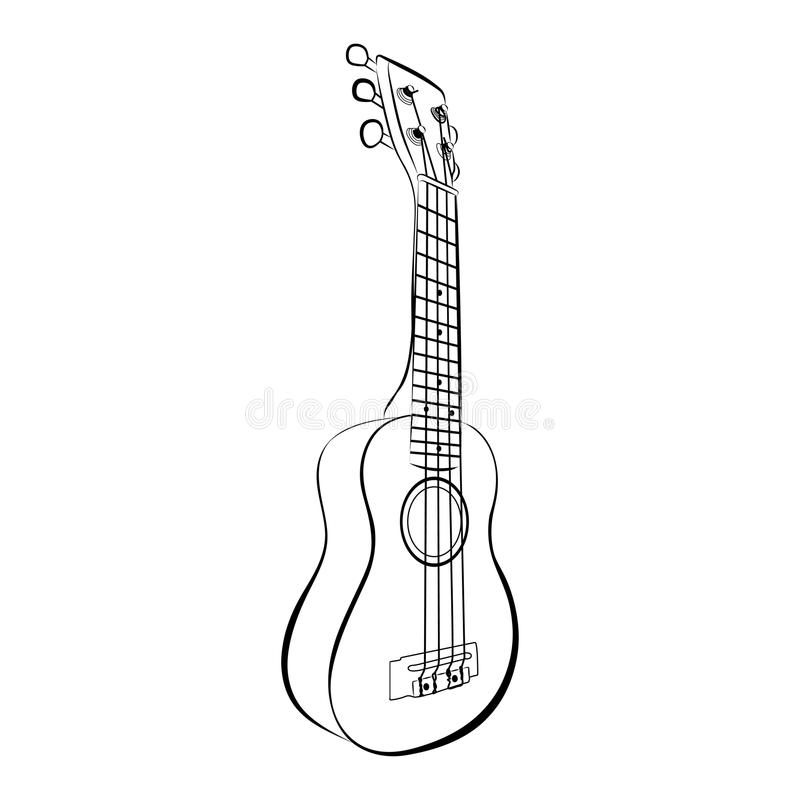 Download Ukulele Guitar, Cartoon Vector And Illustration, Black And White, Hand Drawn, Sketch Style Stock Vector - Illustration of isolated, object: 82864027