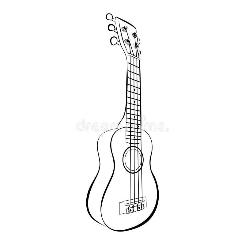 Ukulele guitar, cartoon vector and illustration, black and white, hand drawn, sketch style stock illustration