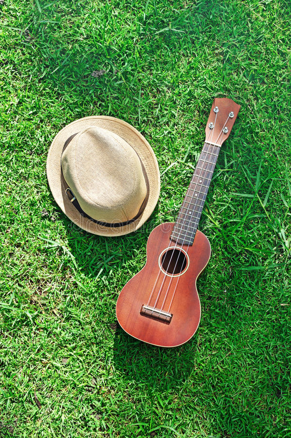 Ukulele with hat on green grass stock photography