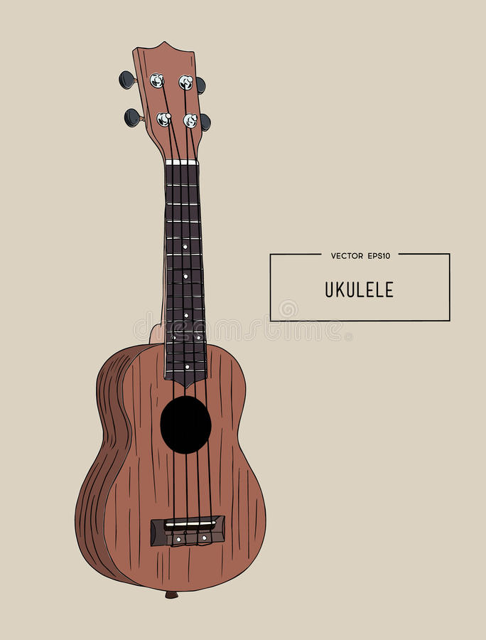 Ukulele - Hawaiian musical hand drawn sketch vector. vector illustration