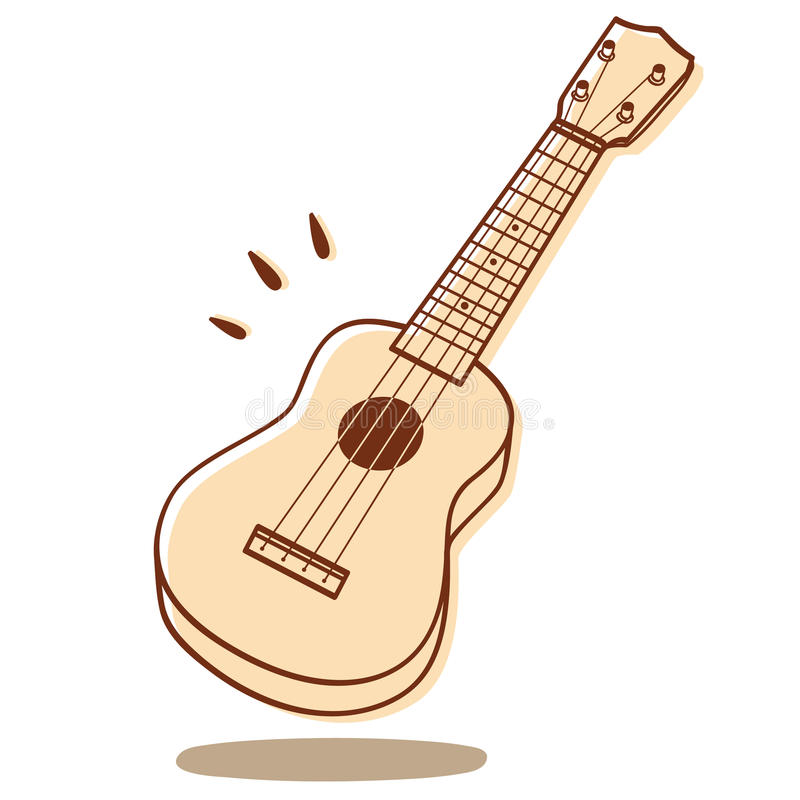 Ukulele vector. Illustration of an ukulele isolated on white background + vector eps file stock illustration