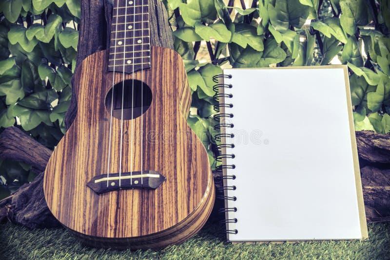 Ukulele med anteckningsboken på trädgårds- bakgrund royaltyfri foto