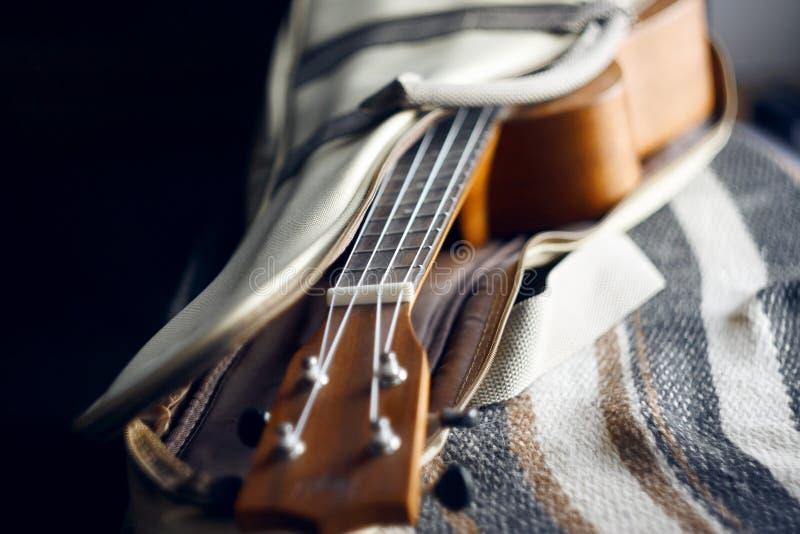 Ukulele with nylon strings on open case. Popular wooden ukulele with nylon strings on open case for gentle carrying stock image