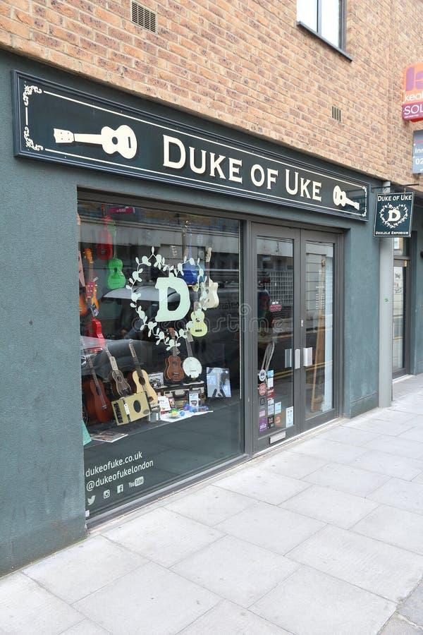 Ukulele store, London stock photo