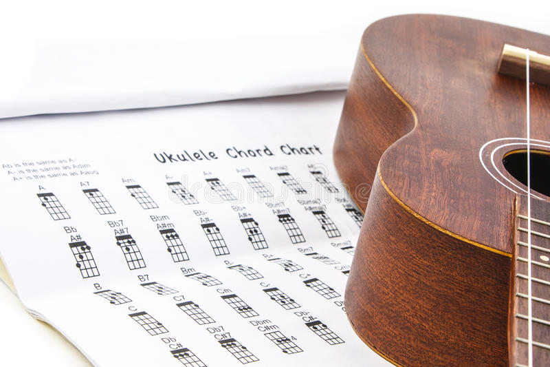 Ukulele And Ukulele Chord Chart Document Royalty Free Stock Image
