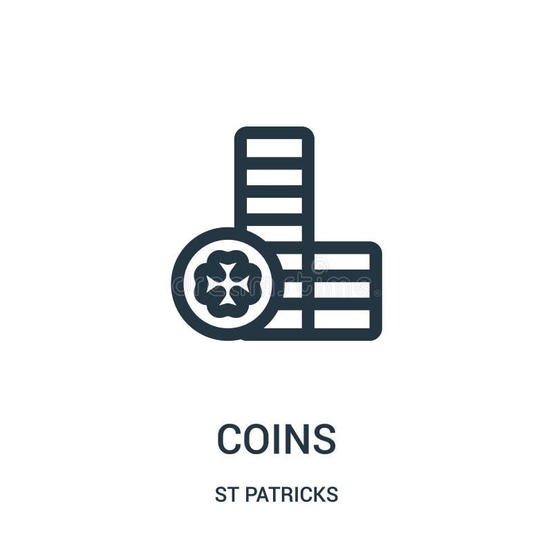 ukuwa nazwę ikona wektor od st patricks inkasowych Cienka kreskowa moneta konturu ikony wektoru ilustracja Liniowy symbol dla uży royalty ilustracja