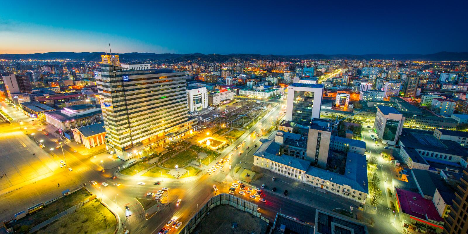 Ulaan-Baator, Mongolia - May 16, 2015: Night view at the streets of the capital of Mongolia. stock images