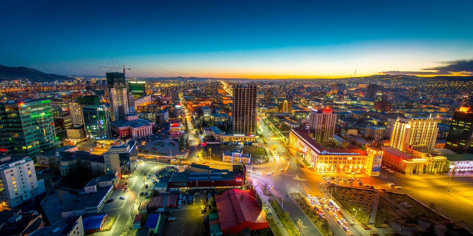 Ulaan-Baator, Mongolia - May 16, 2015: Night view at the streets of the capital of Mongolia. royalty free stock photos