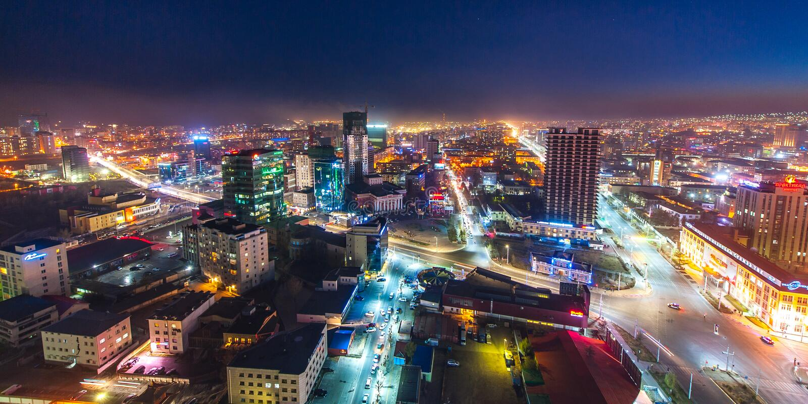 Ulaan-Baator, Mongolia - May 16, 2015: Night view at the streets of the capital of Mongolia. stock photo